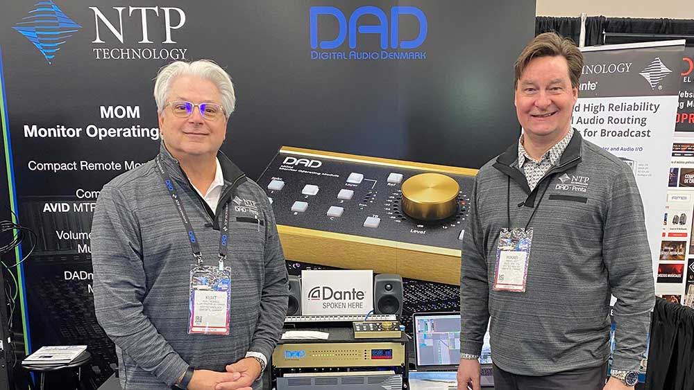 NAMM booth photo with Director of Sales North America Kurt Howell, and Mikael Vest from NTP Technology A/S in Denmark